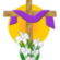 Flowers with cross draped in purple bunting