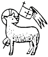 Black and white lamb with St. George cross