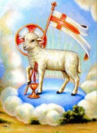 Lamb with sky background and St. George cross