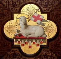 Lamb with gilded background and St. George cross