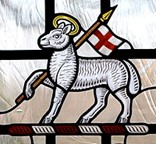 Stained glass lamb with St. George cross