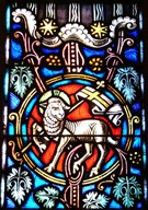 Stained glass lamb