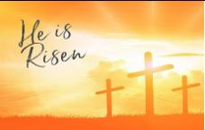 He Is Risen: Three crosses, sunrise, orange theme